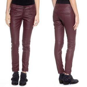 Free People Faux Leather Skinny Pants Mulberry Veg